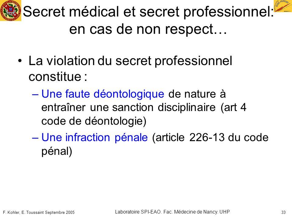 F. Kohler, E. Toussaint Septembre 2005 Laboratoire SPI-EAO. Fac. Médecine de Nancy. UHP 33 Secret médical et secret professionnel: en cas de non respe