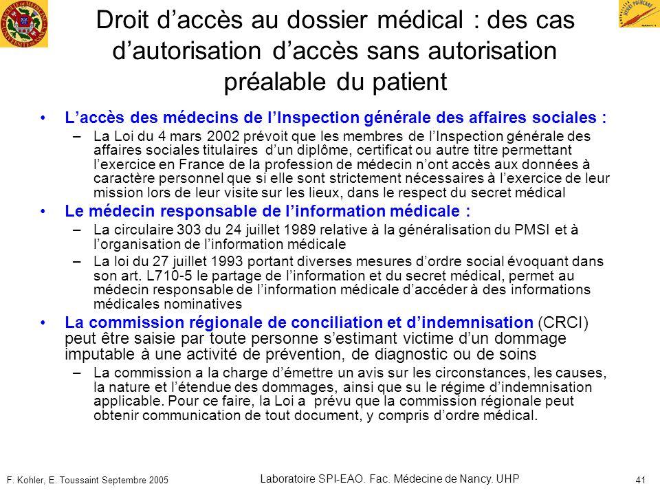 F. Kohler, E. Toussaint Septembre 2005 Laboratoire SPI-EAO. Fac. Médecine de Nancy. UHP 41 Droit daccès au dossier médical : des cas dautorisation dac