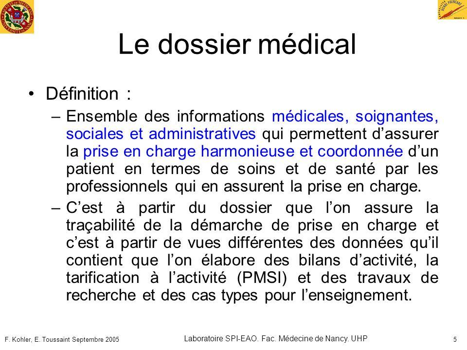 F. Kohler, E. Toussaint Septembre 2005 Laboratoire SPI-EAO. Fac. Médecine de Nancy. UHP 5 Le dossier médical Définition : –Ensemble des informations m