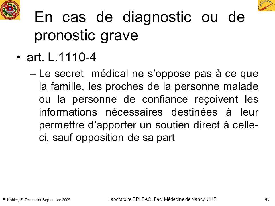 F. Kohler, E. Toussaint Septembre 2005 Laboratoire SPI-EAO. Fac. Médecine de Nancy. UHP 53 En cas de diagnostic ou de pronostic grave art. L.1110-4 –L