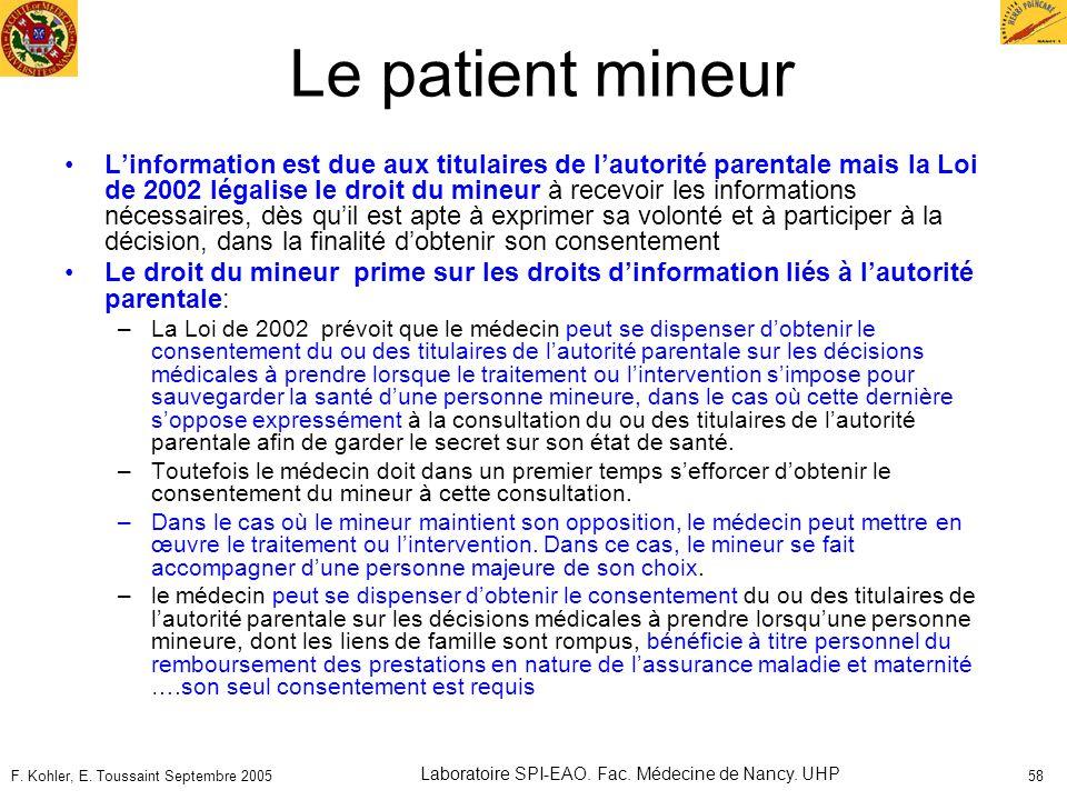 F. Kohler, E. Toussaint Septembre 2005 Laboratoire SPI-EAO. Fac. Médecine de Nancy. UHP 58 Le patient mineur Linformation est due aux titulaires de la