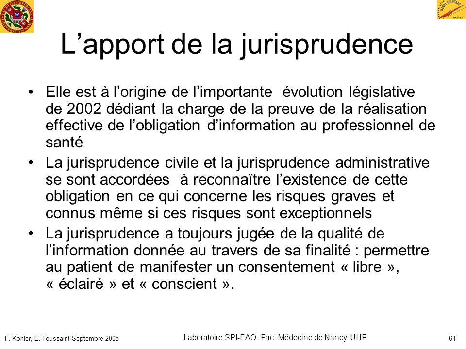 F. Kohler, E. Toussaint Septembre 2005 Laboratoire SPI-EAO. Fac. Médecine de Nancy. UHP 61 Lapport de la jurisprudence Elle est à lorigine de limporta