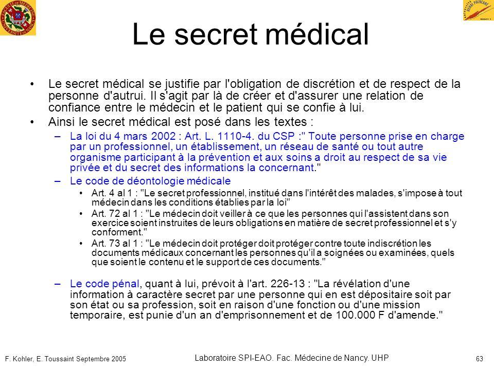 F. Kohler, E. Toussaint Septembre 2005 Laboratoire SPI-EAO. Fac. Médecine de Nancy. UHP 63 Le secret médical Le secret médical se justifie par l'oblig