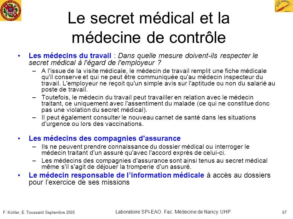 F. Kohler, E. Toussaint Septembre 2005 Laboratoire SPI-EAO. Fac. Médecine de Nancy. UHP 67 Le secret médical et la médecine de contrôle Les médecins d