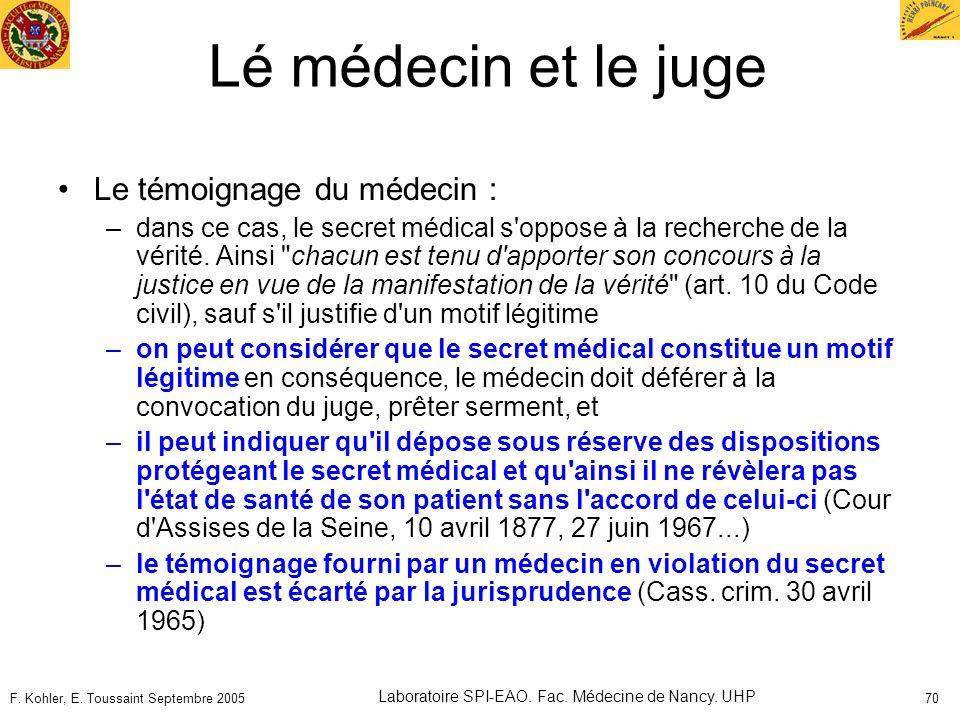 F. Kohler, E. Toussaint Septembre 2005 Laboratoire SPI-EAO. Fac. Médecine de Nancy. UHP 70 Lé médecin et le juge Le témoignage du médecin : –dans ce c