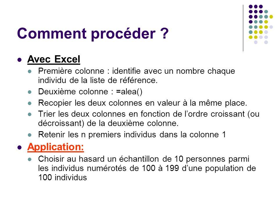 Comment procéder ? Avec Excel Première colonne : identifie avec un nombre chaque individu de la liste de référence. Deuxième colonne : =alea() Recopie