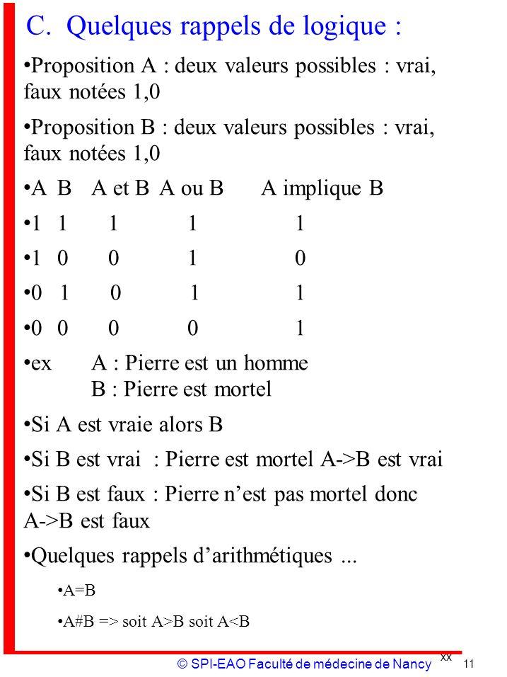 xx © SPI-EAO Faculté de médecine de Nancy C. Quelques rappels de logique : Proposition A : deux valeurs possibles : vrai, faux notées 1,0 Proposition