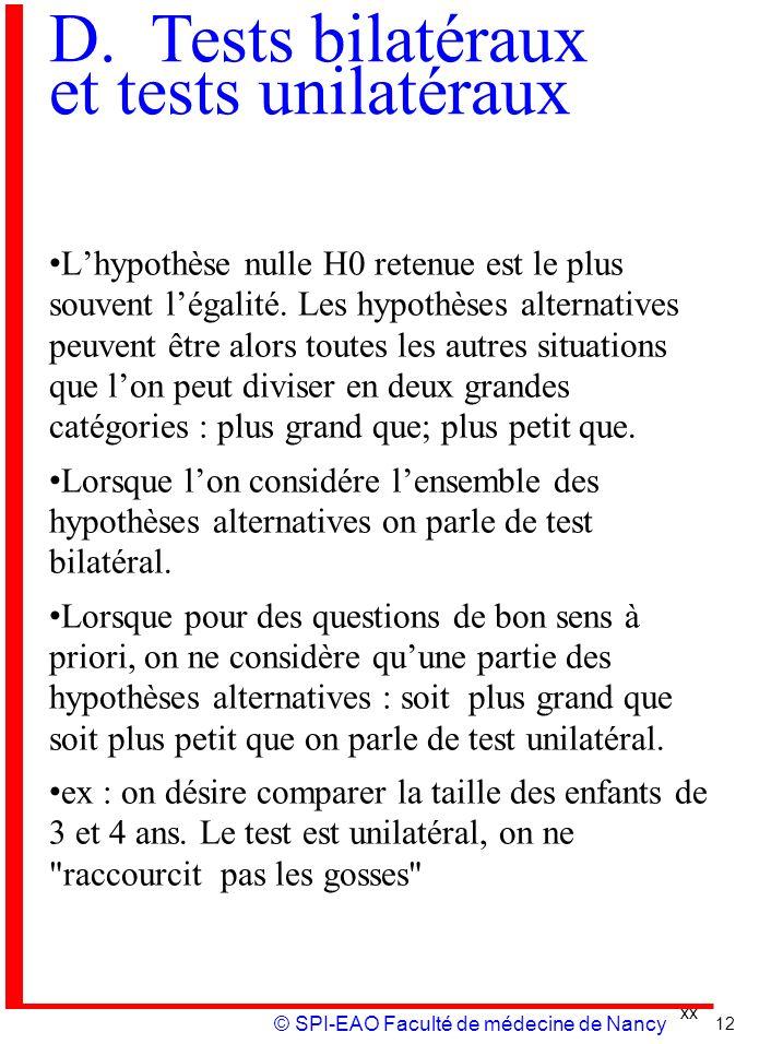 xx © SPI-EAO Faculté de médecine de Nancy D. Tests bilatéraux et tests unilatéraux Lhypothèse nulle H0 retenue est le plus souvent légalité. Les hypot