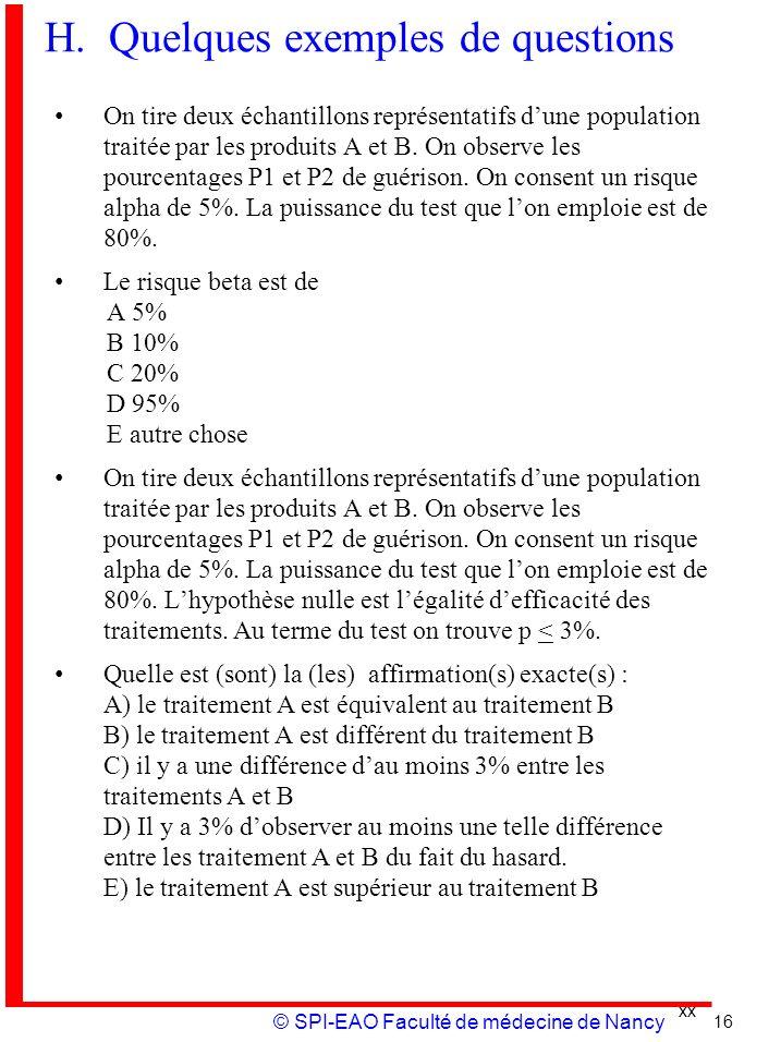 xx © SPI-EAO Faculté de médecine de Nancy H. Quelques exemples de questions On tire deux échantillons représentatifs dune population traitée par les p