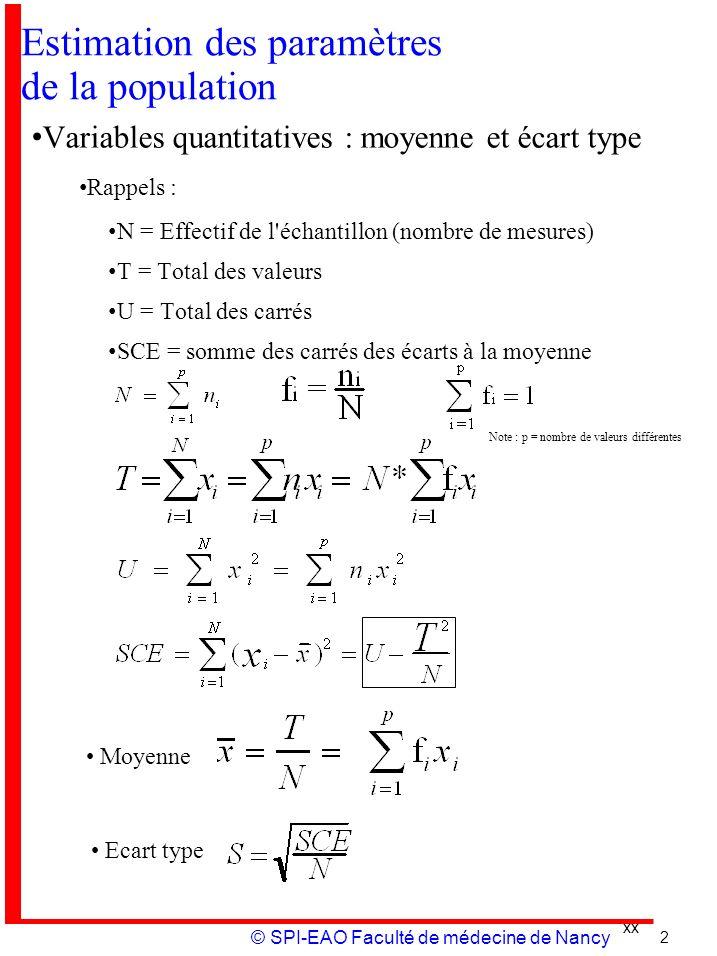 xx © SPI-EAO Faculté de médecine de Nancy Estimation des paramètres de la population Variables quantitatives : moyenne et écart type Rappels : N = Eff