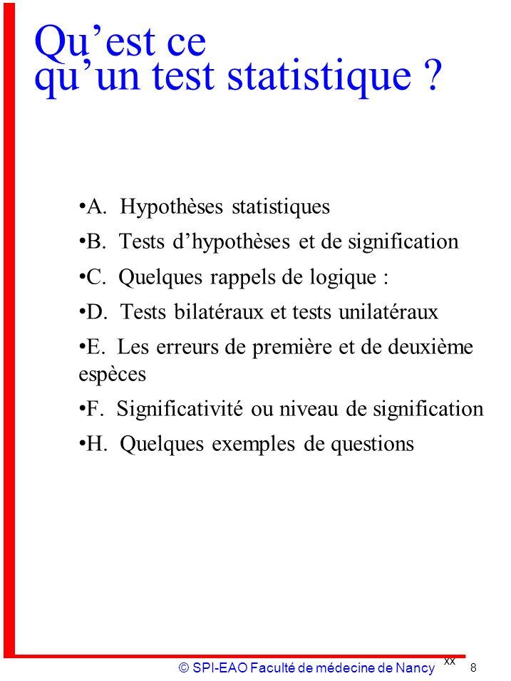 xx © SPI-EAO Faculté de médecine de Nancy Quest ce quun test statistique ? A. Hypothèses statistiques B. Tests dhypothèses et de signification C. Quel