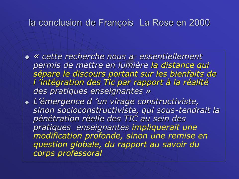la conclusion de François La Rose en 2000 « cette recherche nous a essentiellement permis de mettre en lumière la distance qui sépare le discours port