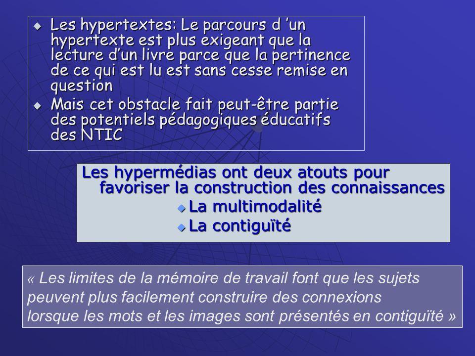 Les hypertextes: Le parcours d un hypertexte est plus exigeant que la lecture dun livre parce que la pertinence de ce qui est lu est sans cesse remise