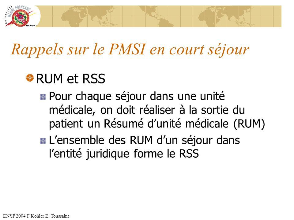 ENSP 2004 F.Kohler E. Toussaint Rappels sur le PMSI en court séjour RUM et RSS Pour chaque séjour dans une unité médicale, on doit réaliser à la sorti