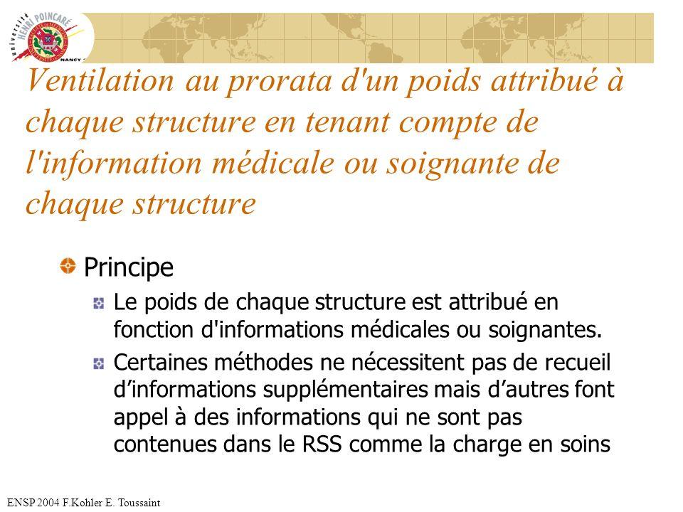 ENSP 2004 F.Kohler E. Toussaint Ventilation au prorata d'un poids attribué à chaque structure en tenant compte de l'information médicale ou soignante
