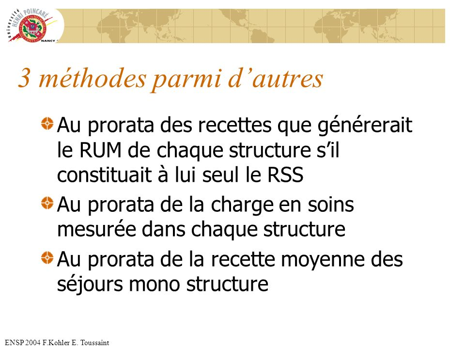 ENSP 2004 F.Kohler E. Toussaint 3 méthodes parmi dautres Au prorata des recettes que générerait le RUM de chaque structure sil constituait à lui seul