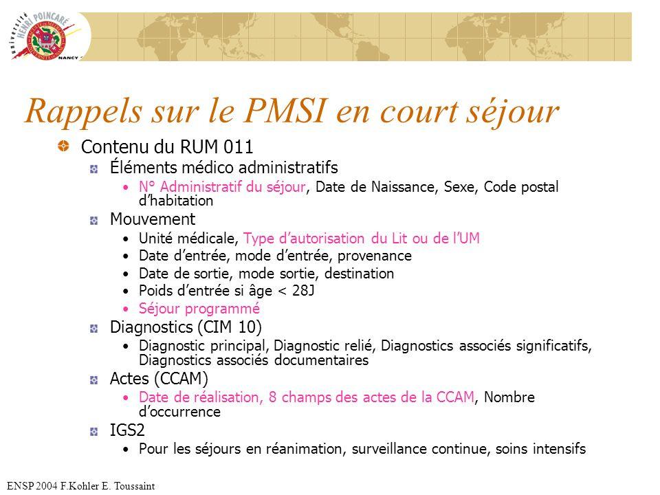 ENSP 2004 F.Kohler E. Toussaint Rappels sur le PMSI en court séjour Contenu du RUM 011 Éléments médico administratifs N° Administratif du séjour, Date