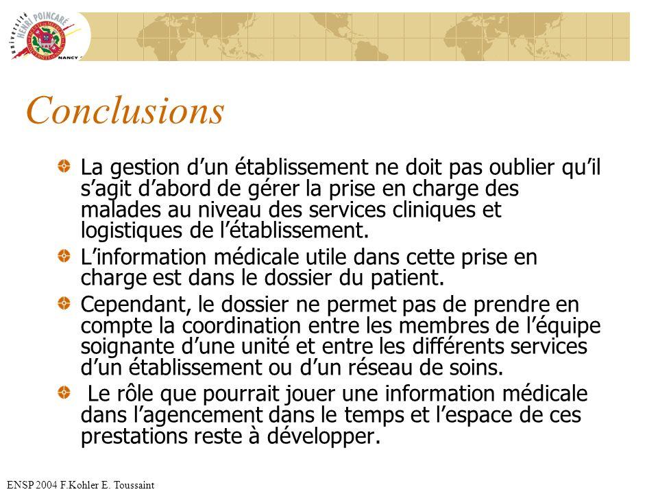 ENSP 2004 F.Kohler E. Toussaint Conclusions La gestion dun établissement ne doit pas oublier quil sagit dabord de gérer la prise en charge des malades