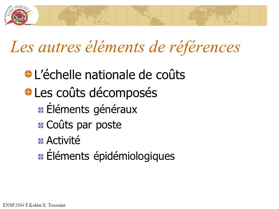 ENSP 2004 F.Kohler E. Toussaint Les autres éléments de références Léchelle nationale de coûts Les coûts décomposés Éléments généraux Coûts par poste A
