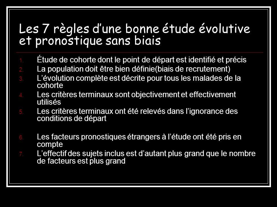 Les 7 règles dune bonne étude évolutive et pronostique sans biais 1. Étude de cohorte dont le point de départ est identifié et précis 2. La population