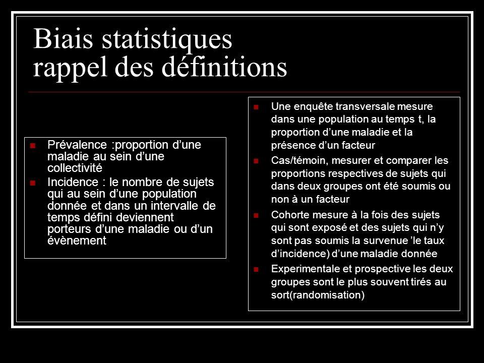 Biais statistiques rappel des définitions Prévalence :proportion dune maladie au sein dune collectivité Incidence : le nombre de sujets qui au sein du