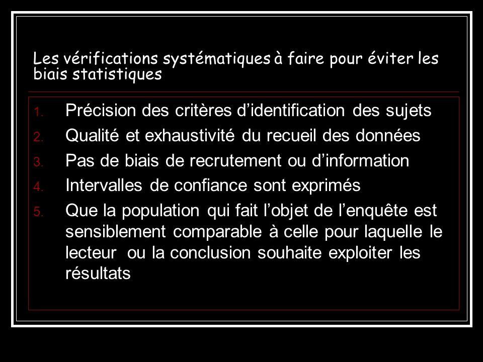 Les vérifications systématiques à faire pour éviter les biais statistiques 1. Précision des critères didentification des sujets 2. Qualité et exhausti