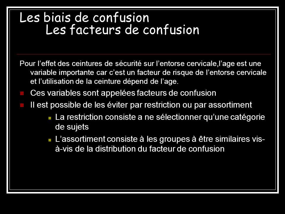 Les biais de confusion Les facteurs de confusion Pour leffet des ceintures de sécurité sur lentorse cervicale,lage est une variable importante car ces