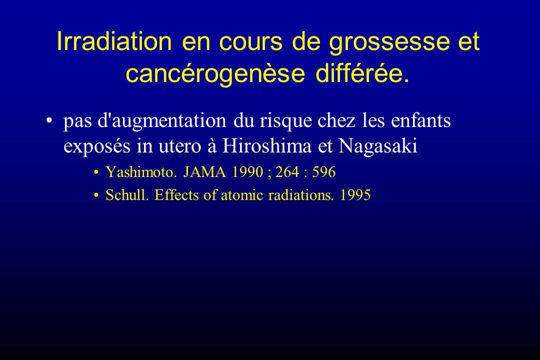 Irradiation en cours de grossesse et cancérogenèse différée. pas d'augmentation du risque chez les enfants exposés in utero à Hiroshima et Nagasaki Ya