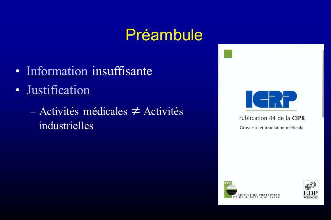 Préambule Information insuffisanteInformation Justification –Activités médicales Activités industrielles