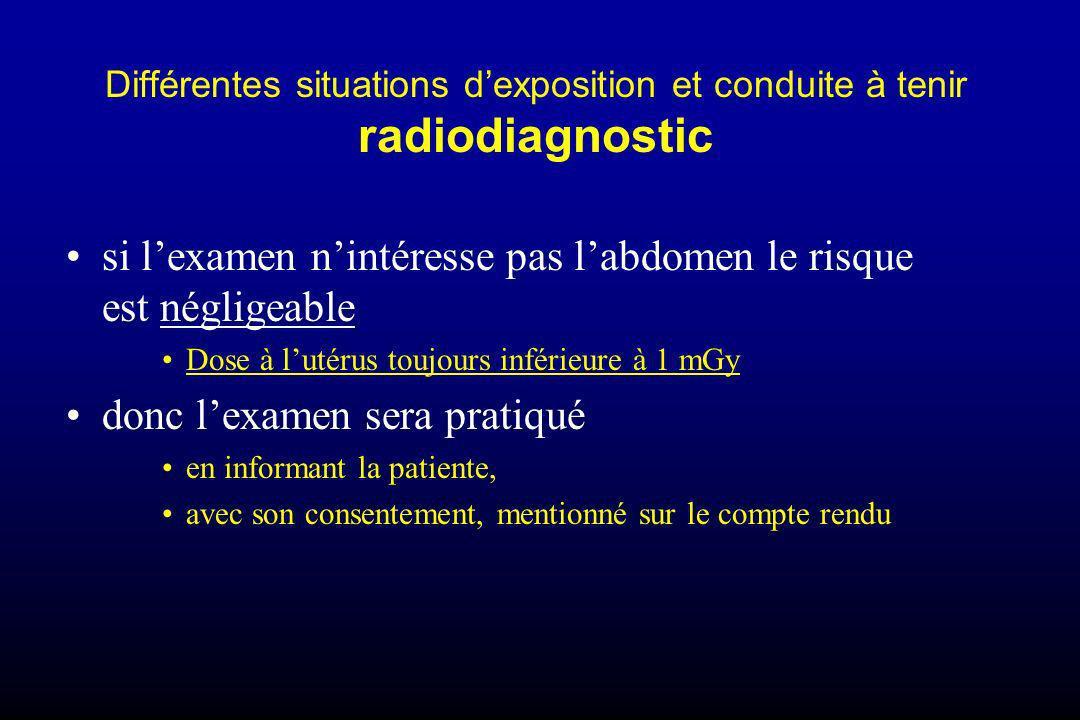 Différentes situations dexposition et conduite à tenir radiodiagnostic si lexamen nintéresse pas labdomen le risque est négligeable Dose à lutérus tou