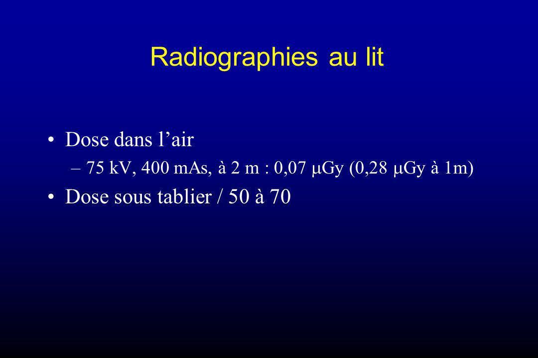 Radiographies au lit Dose dans lair –75 kV, 400 mAs, à 2 m : 0,07 Gy (0,28 Gy à 1m) Dose sous tablier / 50 à 70