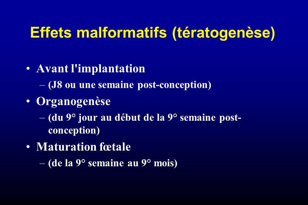 Effets malformatifs (tératogenèse) Avant l'implantation –(J8 ou une semaine post-conception) Organogenèse –(du 9° jour au début de la 9° semaine post-