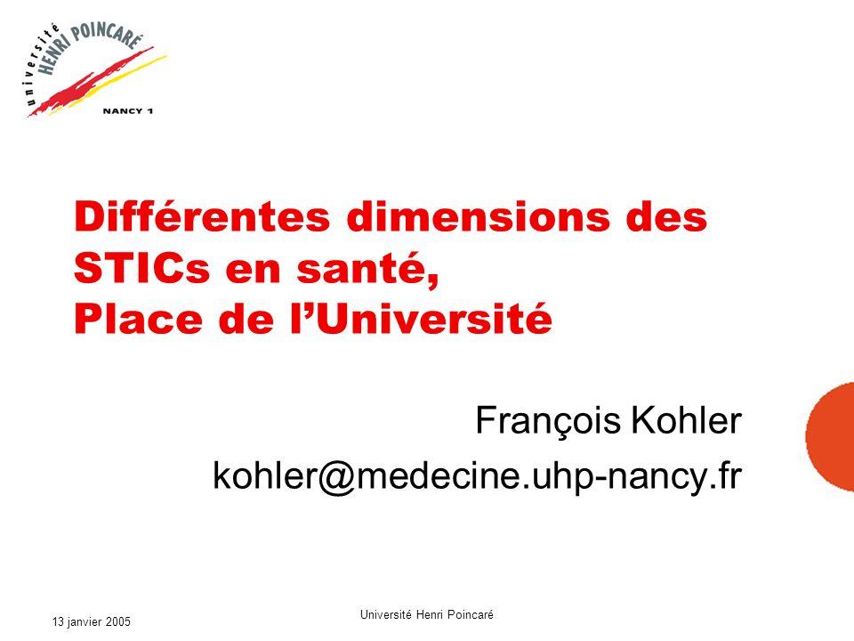 13 janvier 2005 Université Henri Poincaré Les partenaires des STICs en santé Enseignement Recherche Soins Universités CHU EPST