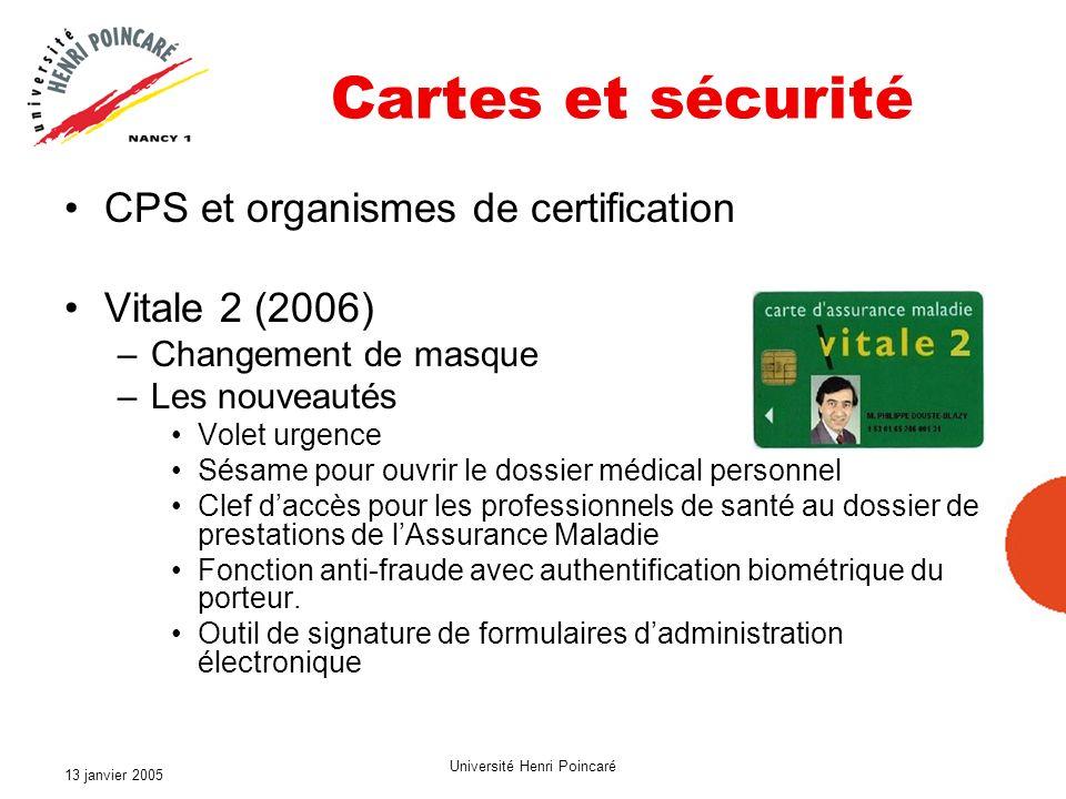13 janvier 2005 Université Henri Poincaré Cartes et sécurité CPS et organismes de certification Vitale 2 (2006) –Changement de masque –Les nouveautés
