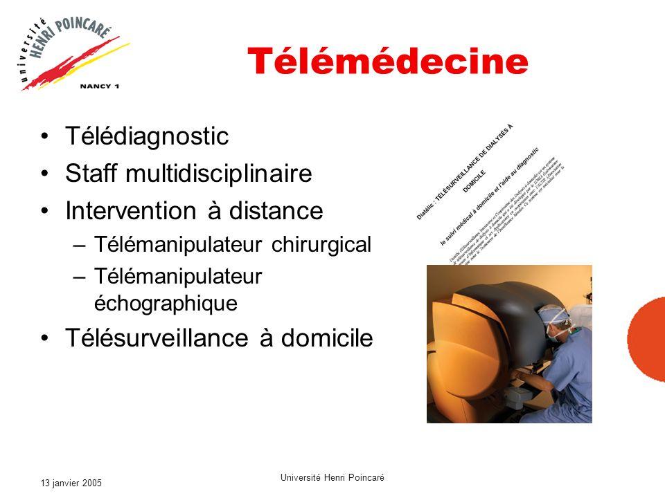 13 janvier 2005 Université Henri Poincaré Télémédecine Télédiagnostic Staff multidisciplinaire Intervention à distance –Télémanipulateur chirurgical –