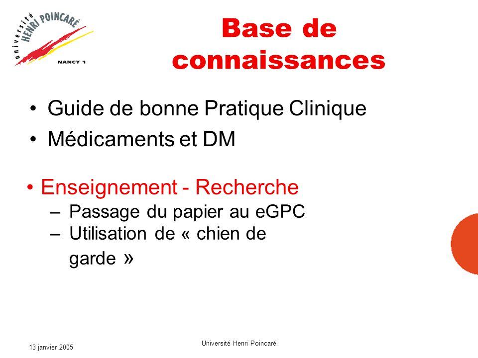 13 janvier 2005 Université Henri Poincaré Base de connaissances Guide de bonne Pratique Clinique Médicaments et DM Enseignement - Recherche –Passage d