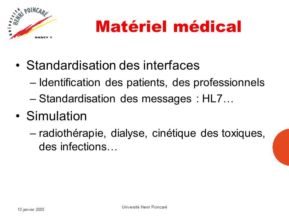13 janvier 2005 Université Henri Poincaré Matériel médical Standardisation des interfaces –Identification des patients, des professionnels –Standardis