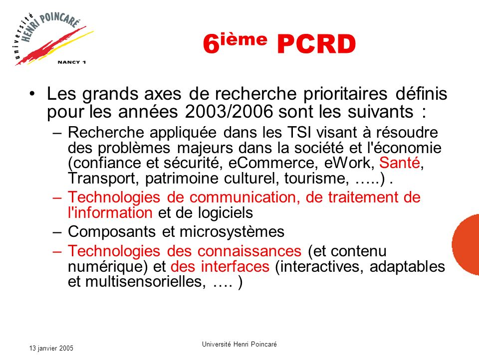 13 janvier 2005 Université Henri Poincaré 6 ième PCRD Les grands axes de recherche prioritaires définis pour les années 2003/2006 sont les suivants :