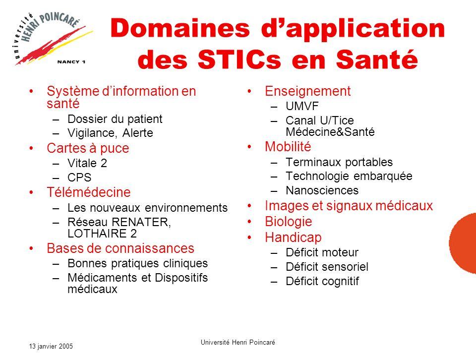 13 janvier 2005 Université Henri Poincaré Domaines dapplication des STICs en Santé Système dinformation en santé –Dossier du patient –Vigilance, Alert
