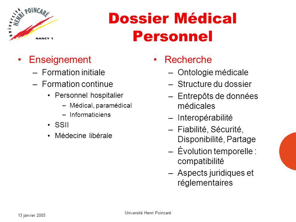 13 janvier 2005 Université Henri Poincaré Dossier Médical Personnel Enseignement –Formation initiale –Formation continue Personnel hospitalier –Médica