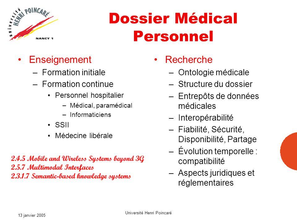 13 janvier 2005 Université Henri Poincaré 5 ième PCRD Système intelligent de diagnostic et de traitement atraumatique Imagerie médicale avancée Réseau et application à grande vitesse et haute sécurité reliant les hôpitaux Dossier médicaux électroniques Système de suivi et de prévention Soins à distance