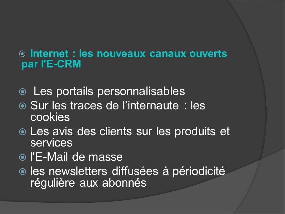 Internet : les nouveaux canaux ouverts par l'E-CRM Les portails personnalisables Sur les traces de linternaute : les cookies Les avis des clients sur