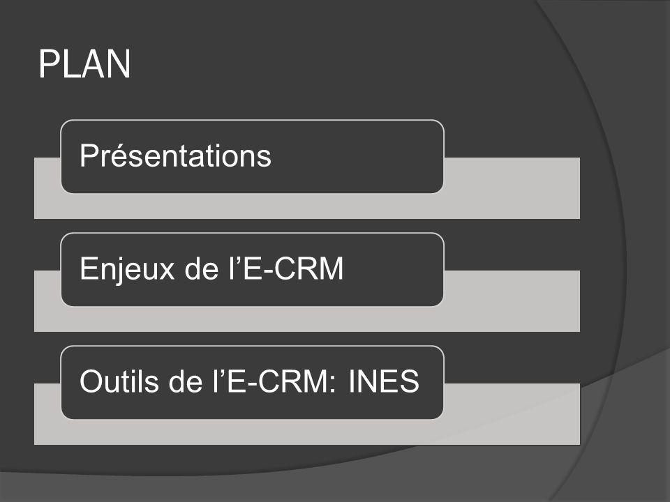 PLAN PrésentationsEnjeux de lE-CRMOutils de lE-CRM: INES