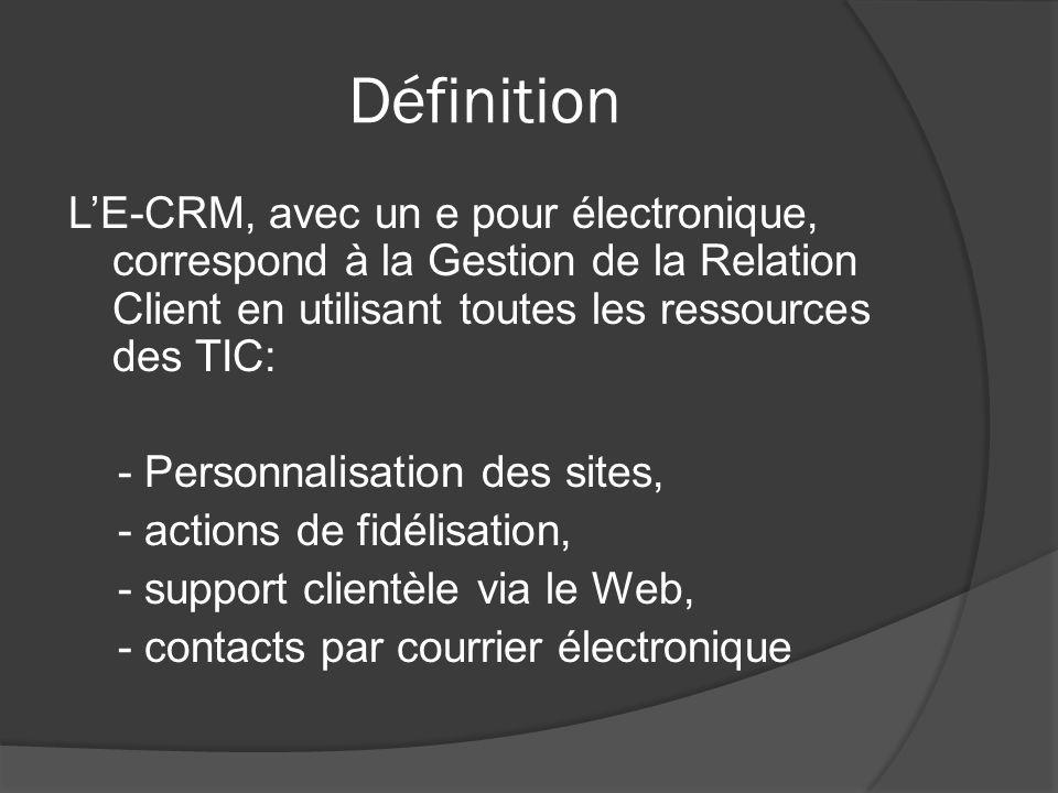 Définition LE-CRM, avec un e pour électronique, correspond à la Gestion de la Relation Client en utilisant toutes les ressources des TIC: - Personnalisation des sites, - actions de fidélisation, - support clientèle via le Web, - contacts par courrier électronique