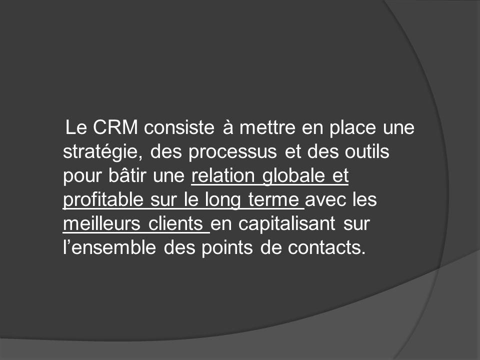 Le CRM consiste à mettre en place une stratégie, des processus et des outils pour bâtir une relation globale et profitable sur le long terme avec les