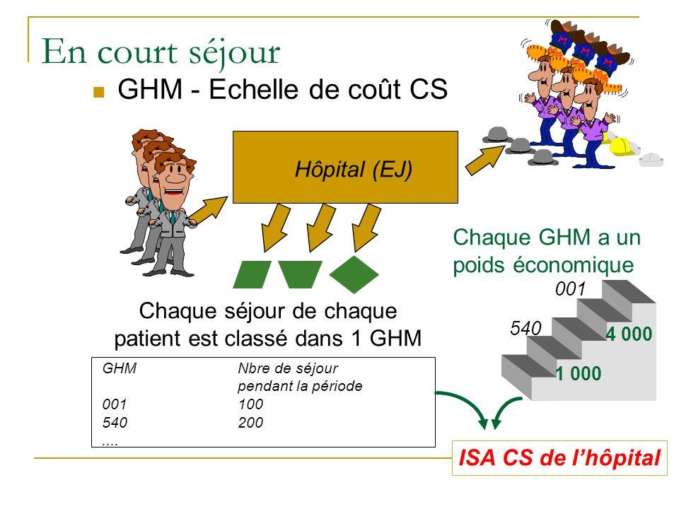 En court séjour GHM - Echelle de coût CS Hôpital (EJ) Chaque séjour de chaque patient est classé dans 1 GHM GHMNbre de séjour pendant la période 00110