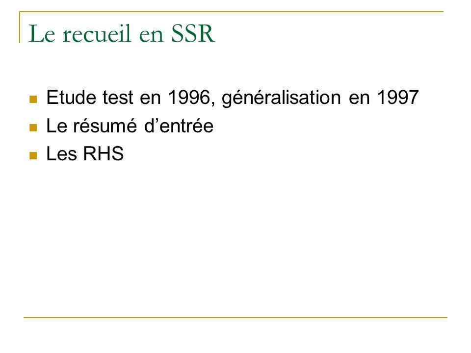 Le recueil en SSR Etude test en 1996, généralisation en 1997 Le résumé dentrée Les RHS
