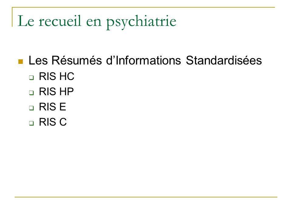 Le recueil en psychiatrie Les Résumés dInformations Standardisées RIS HC RIS HP RIS E RIS C