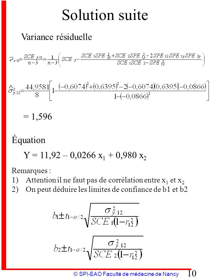 © SPI-EAO Faculté de médecine de Nancy 10 Solution suite Variance résiduelle ^ = 1,596 Équation Y = 11,92 – 0,0266 x 1 + 0,980 x 2 Remarques : 1)Atten