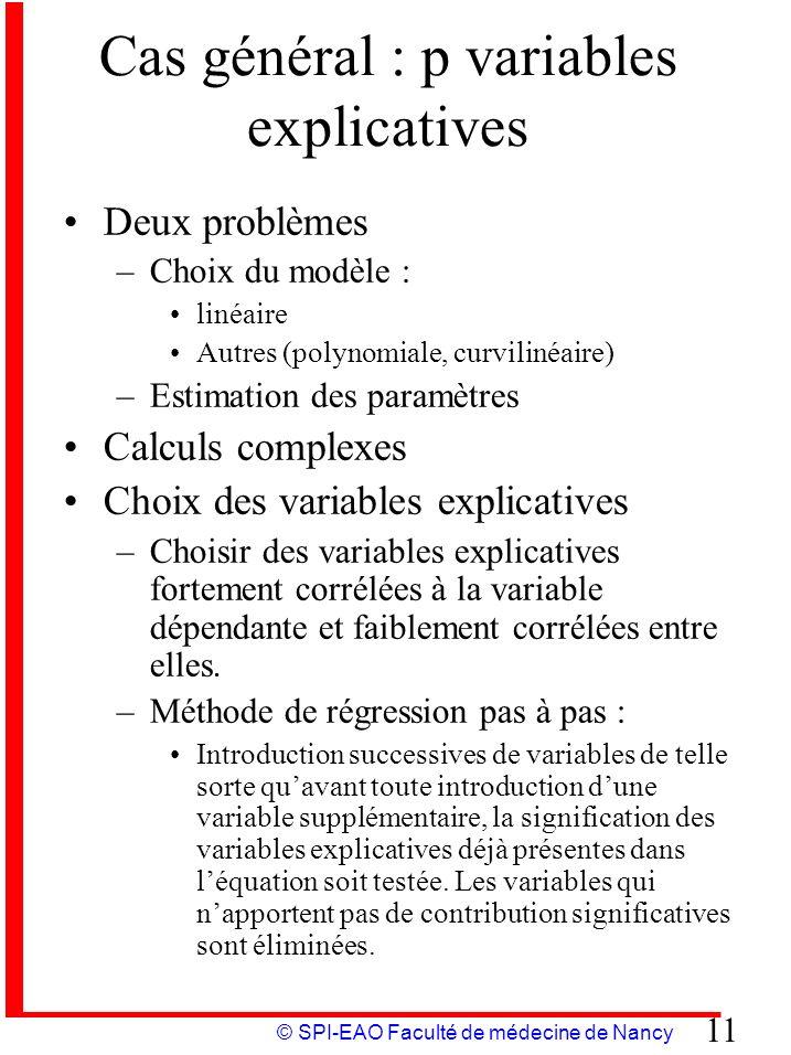 © SPI-EAO Faculté de médecine de Nancy 11 Cas général : p variables explicatives Deux problèmes –Choix du modèle : linéaire Autres (polynomiale, curvi
